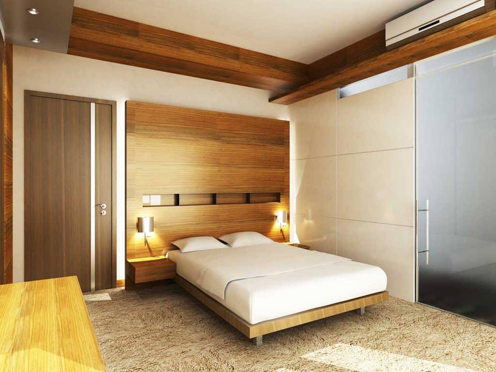 Modern bedroom with carpet flooring