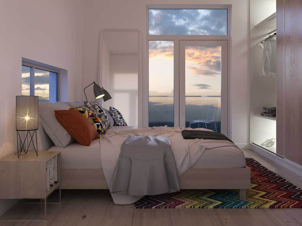 Modern bedroom with wardrobe and window