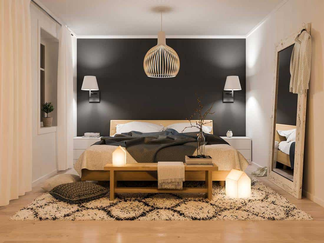 Modern black and white bedroom with wooden interior