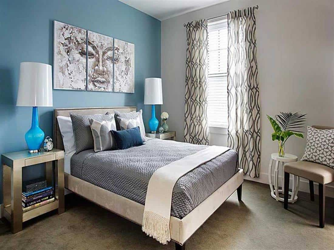 Modern blue bedroom with artistic paint