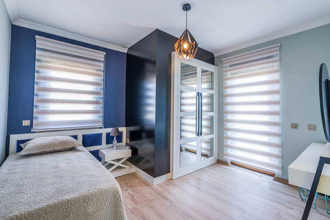 Modern blue-themed bedroom