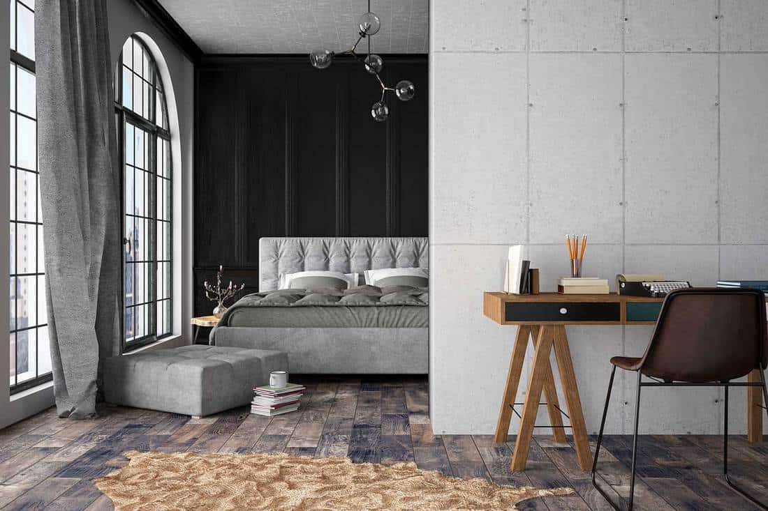 Modern grey bedroom with work Place