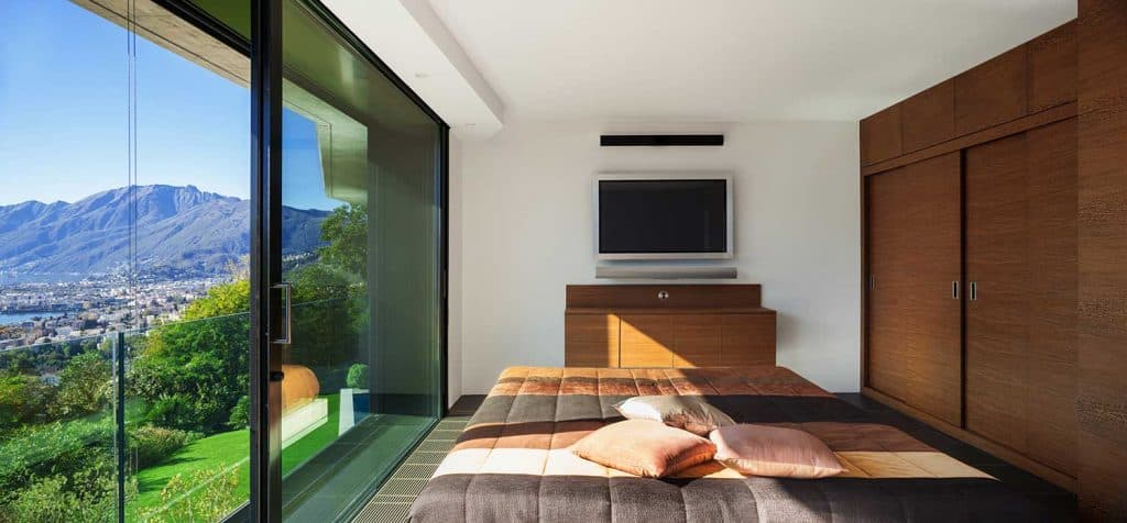 Modern house bedroom with nice view