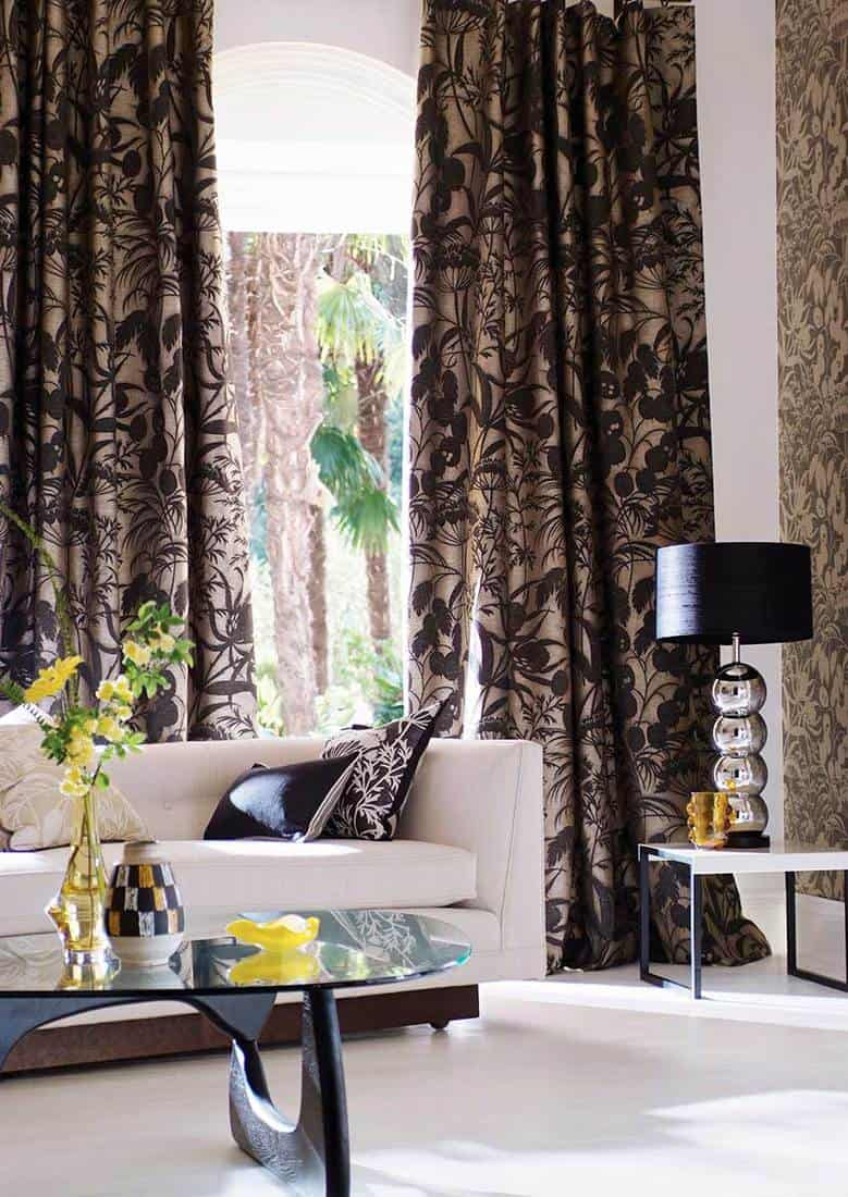 Modern living room sofa and a beautiful curtain