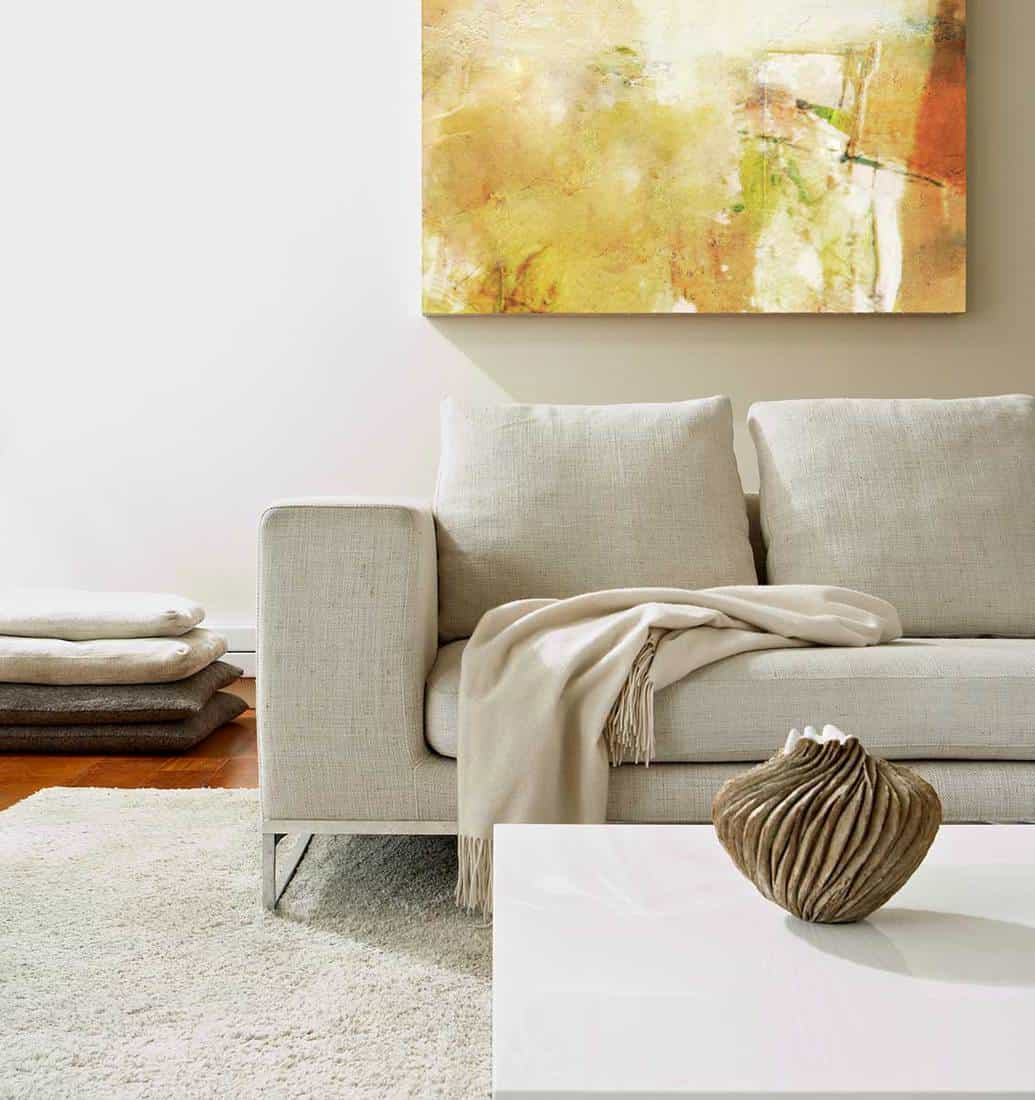 Modern living room with abstract painting