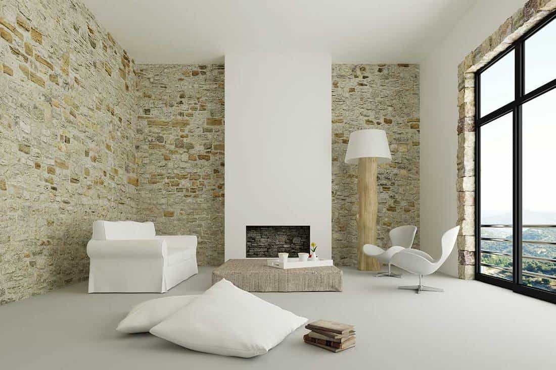 Modern living room with brick wall, log lamp and nice mountain view