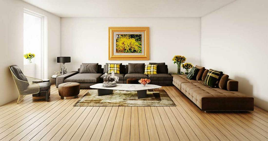 Modern living room with wooden floor and large abstract painting