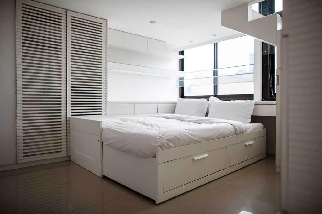 Modern loft bedroom with window