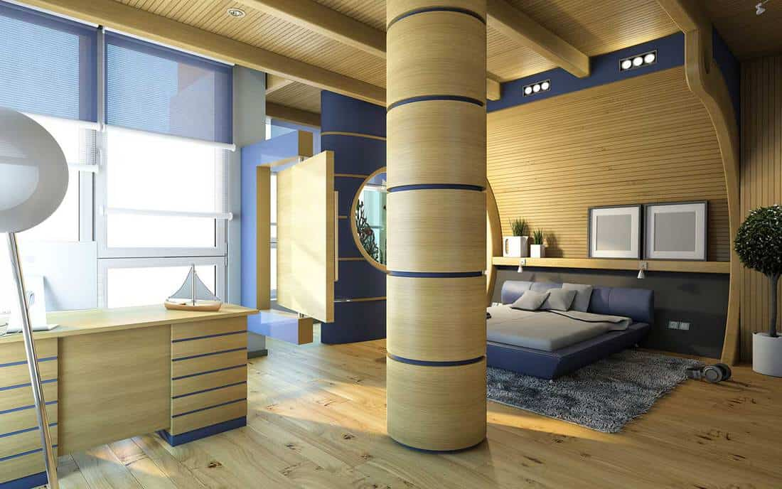 Modern-nautical-themed-bedroom-with-office-table