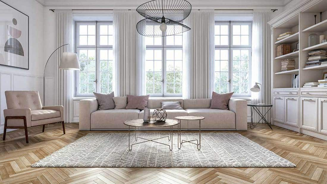 Modern scandinavian living room interior with parquet flooring