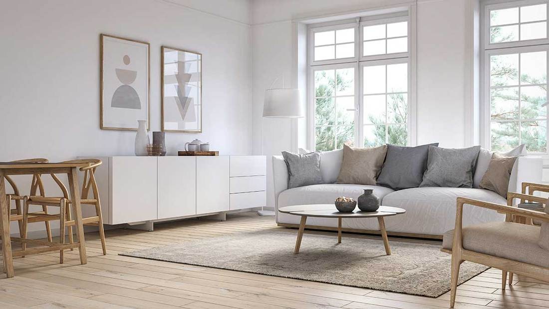 Modern scandinavian living room interior