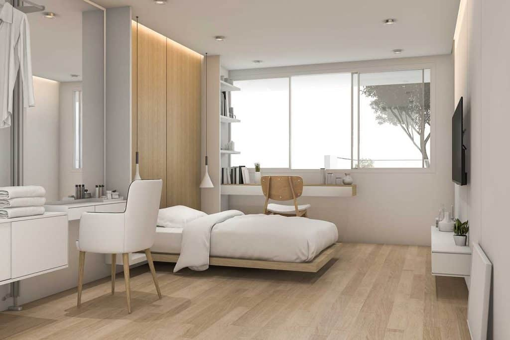 Modern white bedroom with make up table