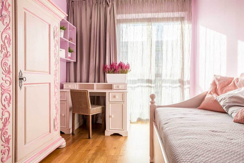 Pink bedroom for girl