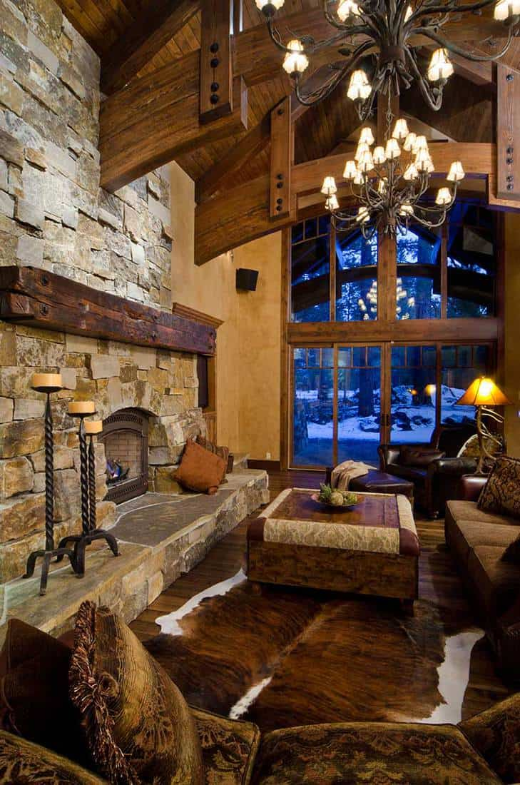 Rustic living room with brick fireplace