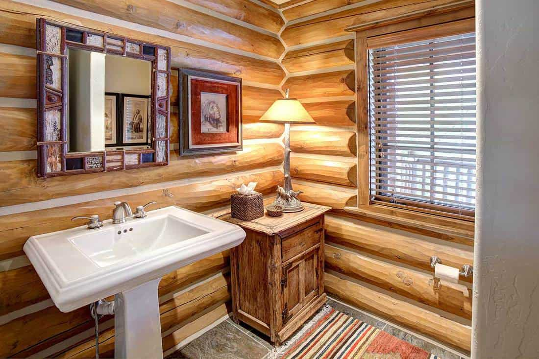 Rustic log cabin bathroom