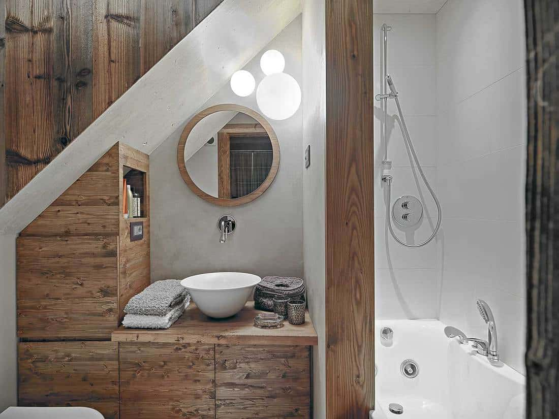 Rustic small bathroom with modern interior