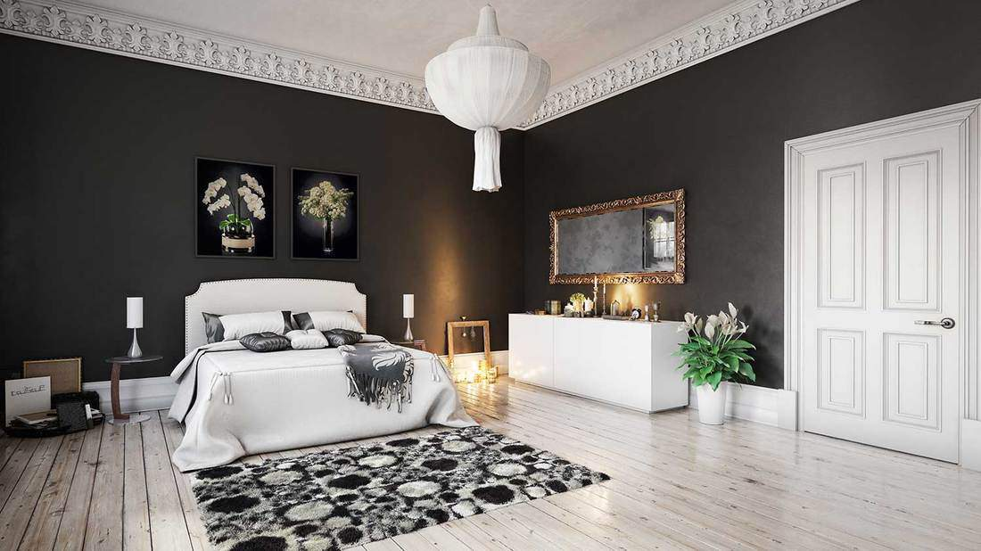 Scandinavian black and white bedroom