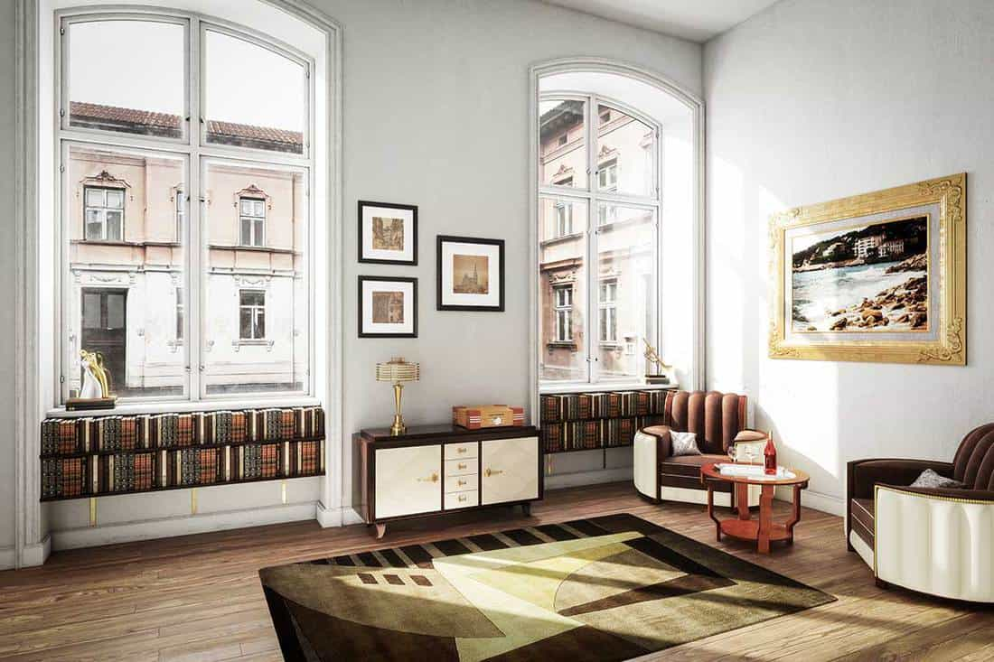 Scandinavian interior living room with books