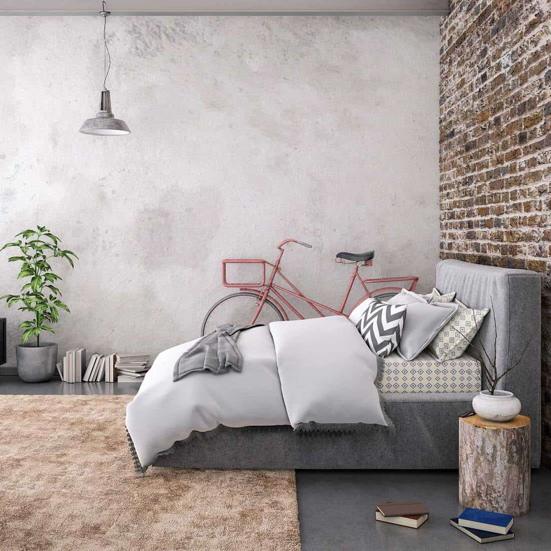 Stylish bedroom with brick wall, grey bed, bicycle, log and carpet