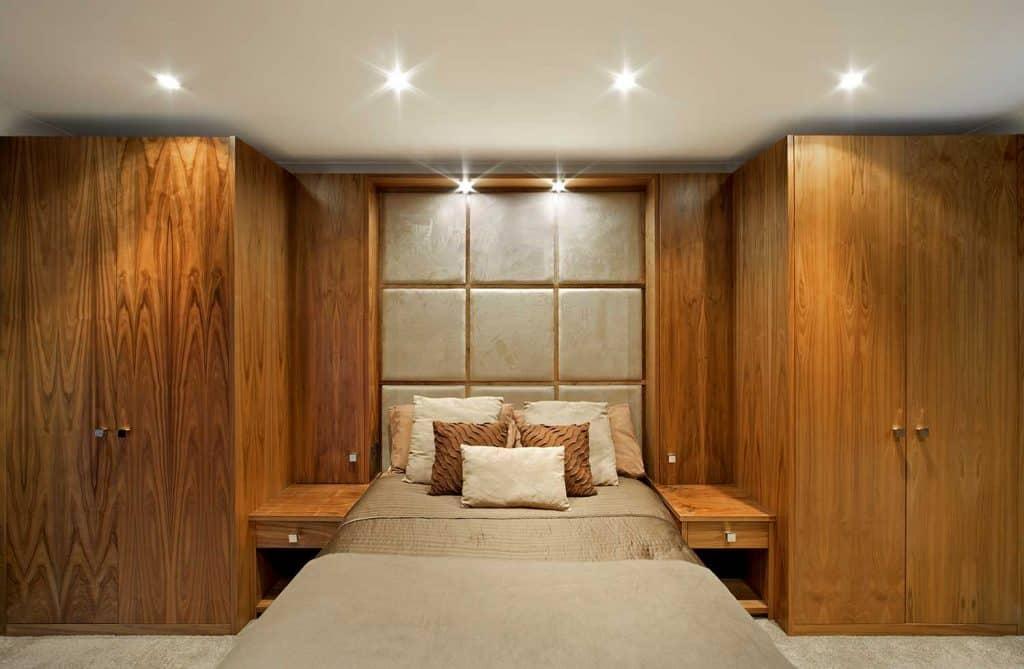 Wood panelled bedroom