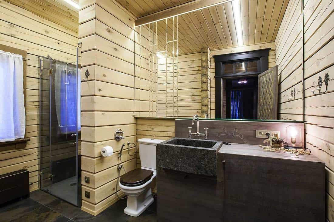 Wooden house rustic bathroom