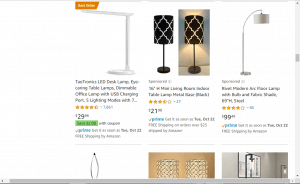 Amazon website product page for Lamps