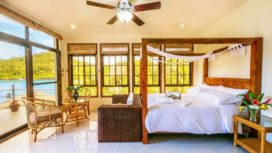 Beautiful tropical resort bedroom interior