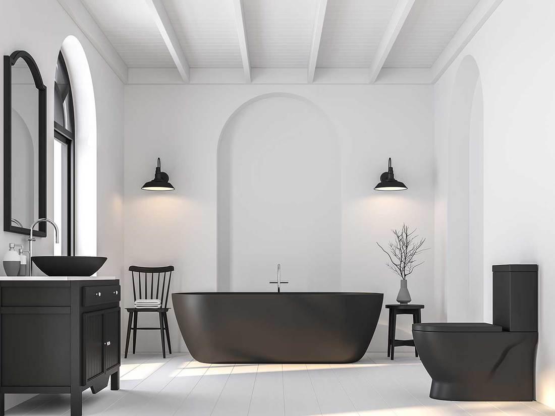 Black and white themed minimalist bathroom