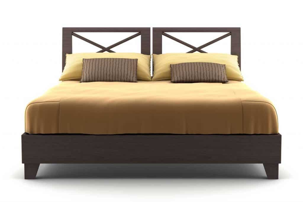 Warm brown bed with chocolate brown pillows