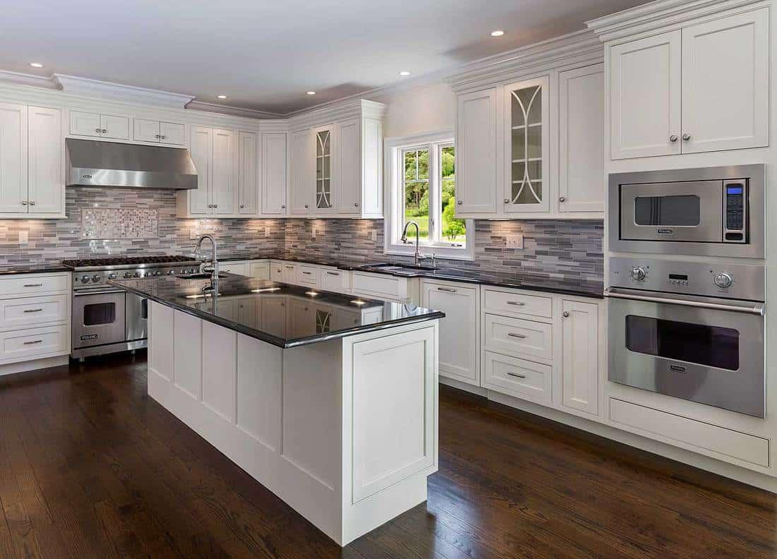 Dream modern kitchen with parquet flooring