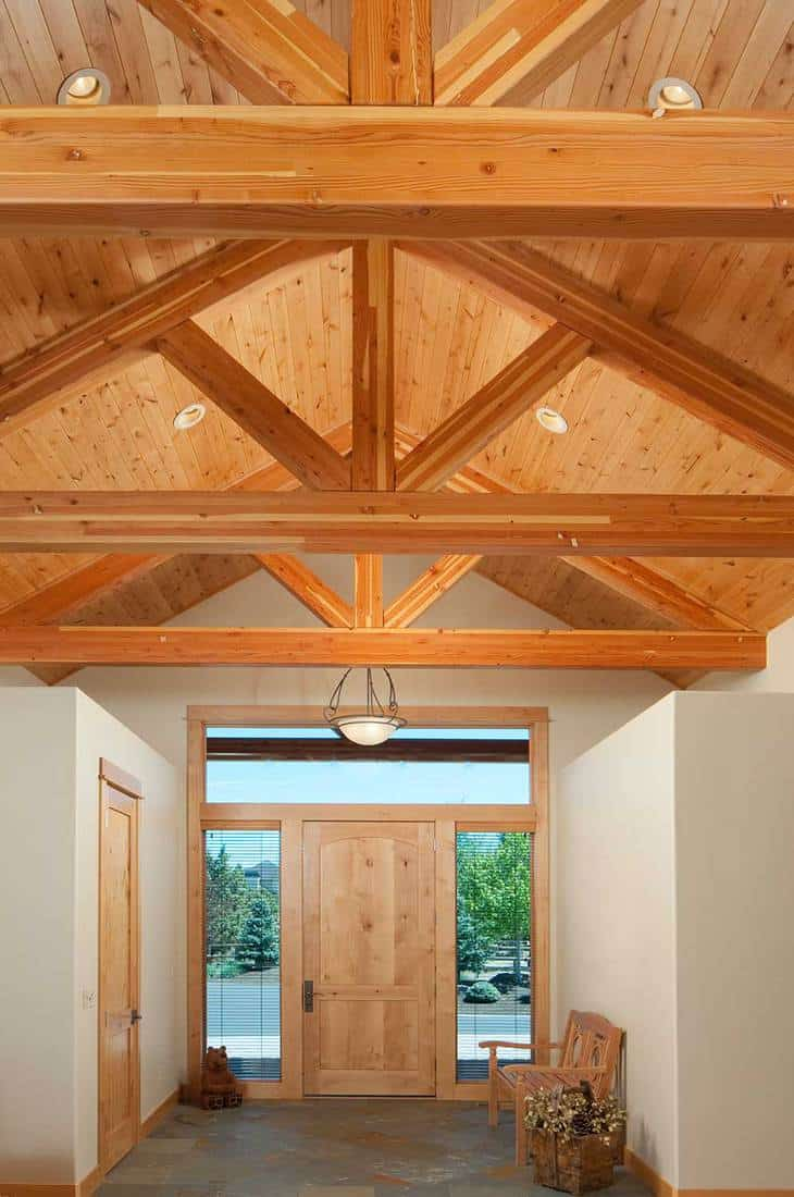 Front door with wood beam trusses