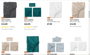 Bedsheets on ikea's page.