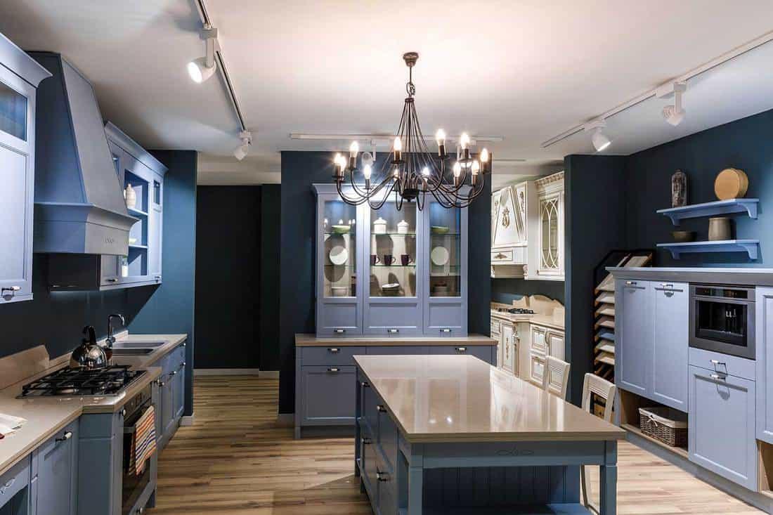 Interior of modern kitchen in blue tones