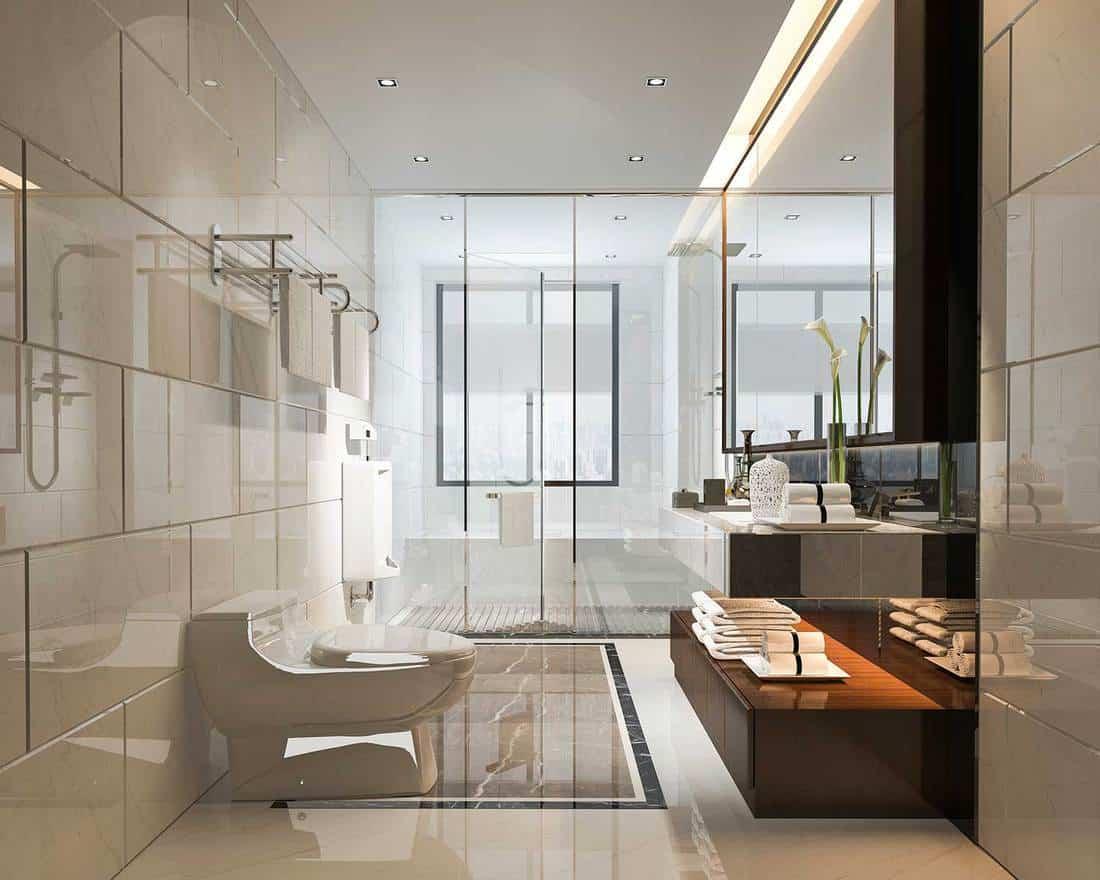 Luxury modern design bathroom and toilet
