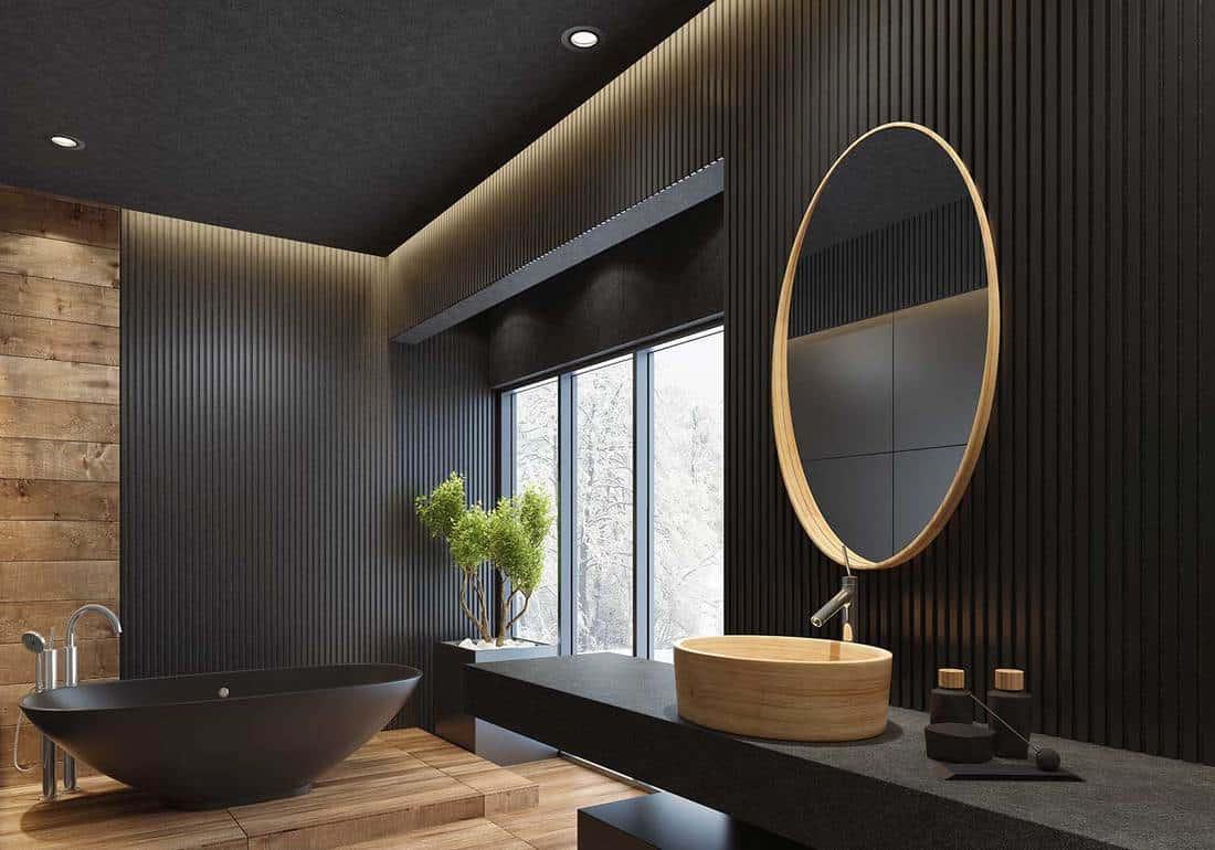 Luxury villa minimalist black bathroom