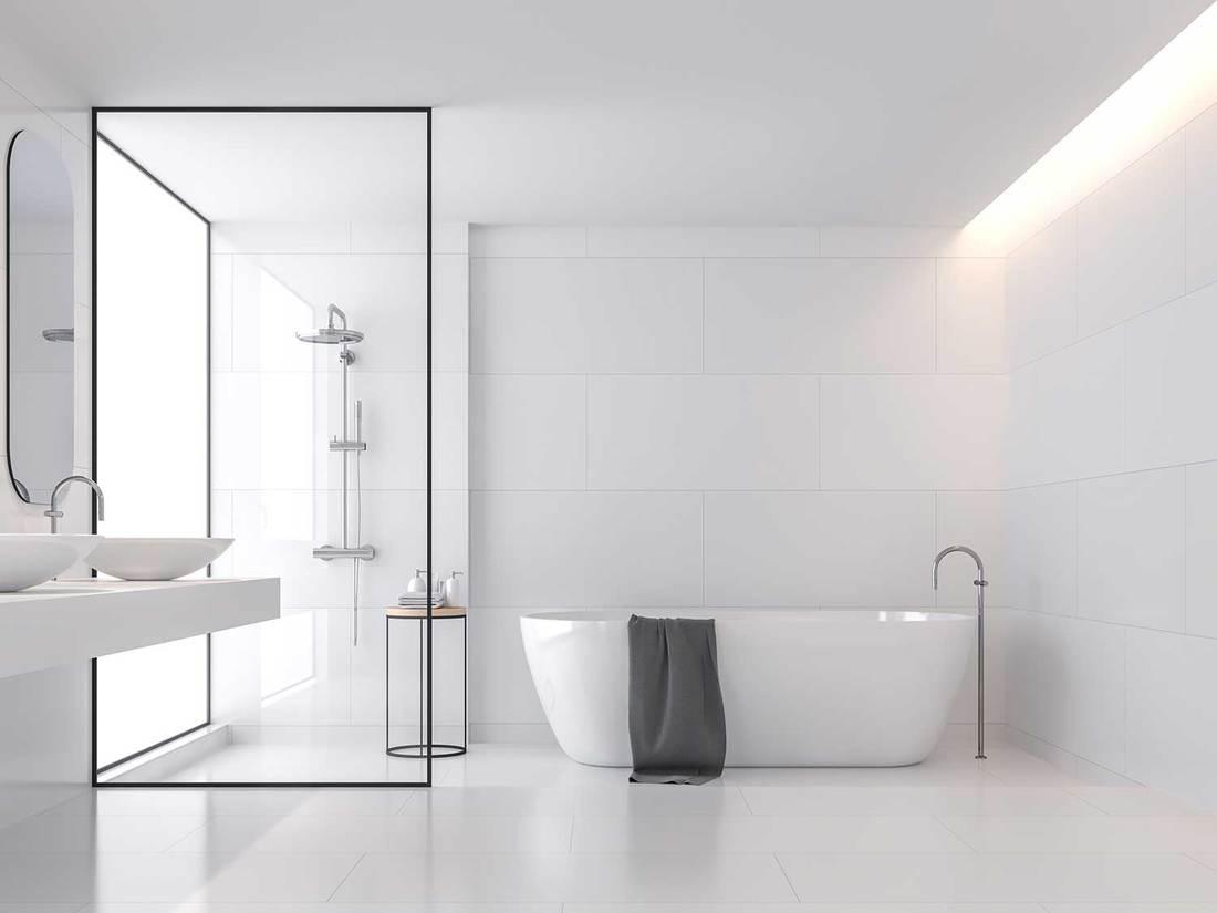 Minimal style white bathroom