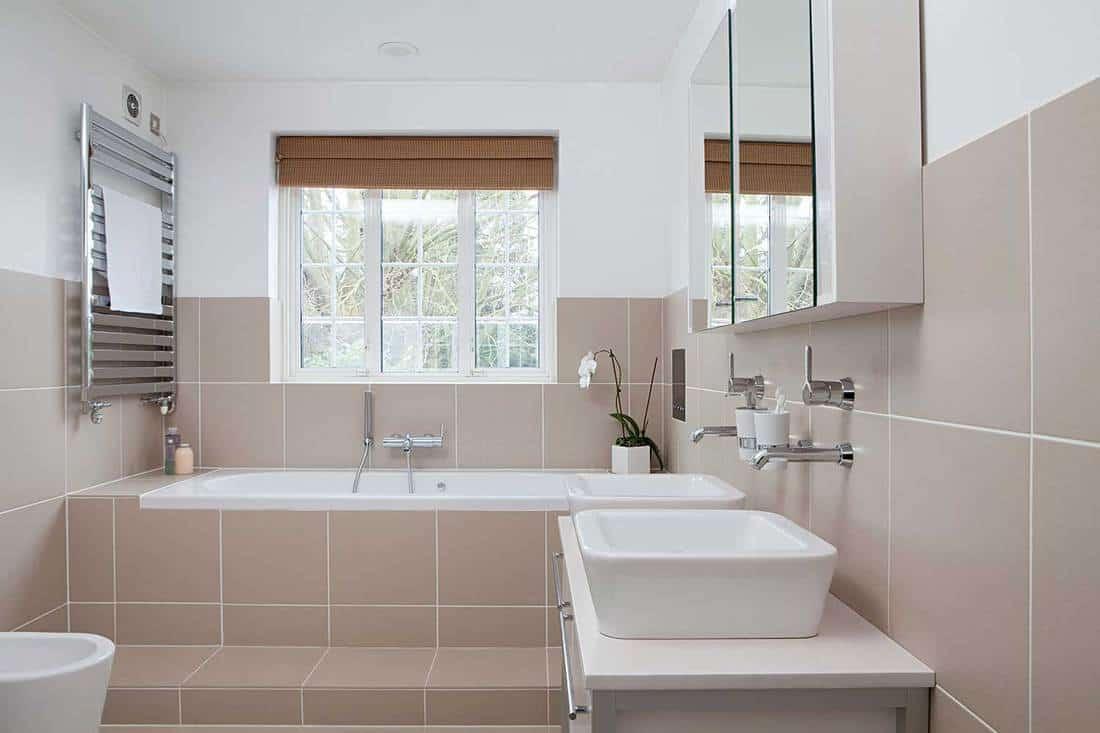 Modern bathroom with garden view window