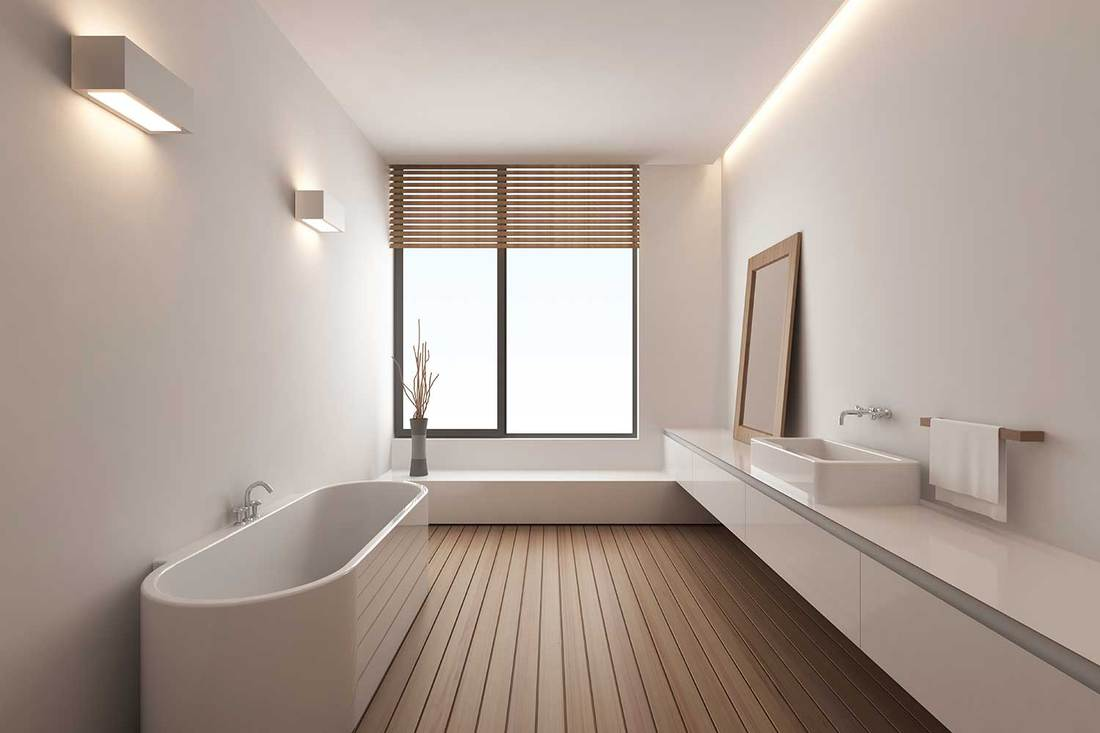 Modern bathroom with parquet flooring