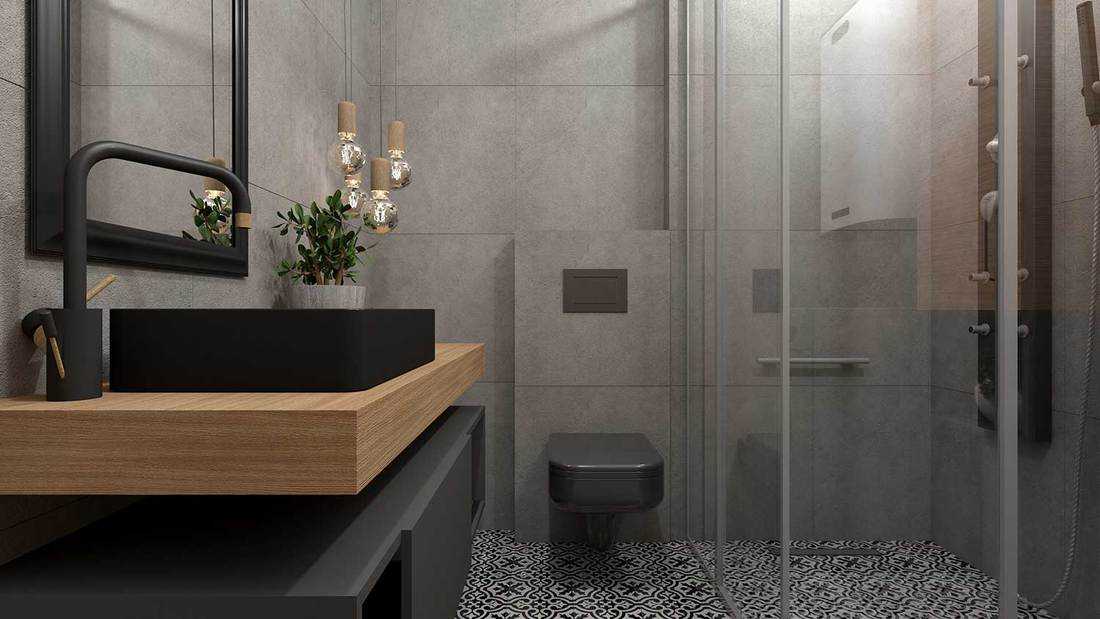 Modern black themed bathroom