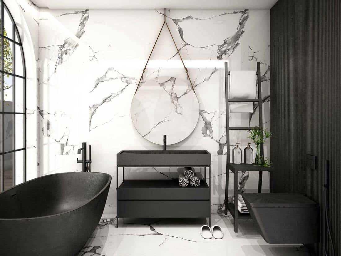 Modern dark themed bathroom interior
