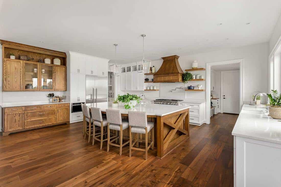 Modern kitchen with wooden interior