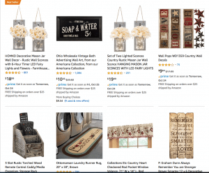 Amazon Website page with rustic items
