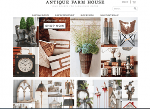 Antique Farmhouse Website page with rustic items