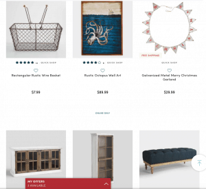 World market Website page with rustic items