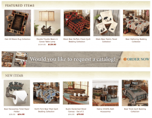 Black forest decor Website page with rustic items