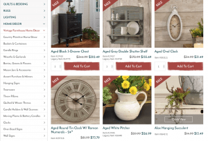 Piper Classic Website page with rustic items