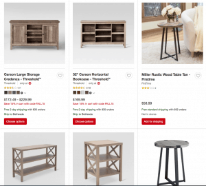 Target Website page with rustic items