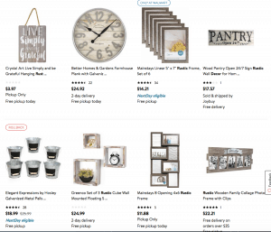 Walmart Website page with rustic items