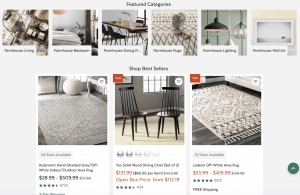 All Modern Website page with rustic items