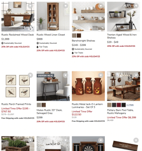 Pottery Barn Website page with rustic items